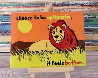 """Brave lion """"Choose to be optimistic""""  illustrated positive postcard  by Tisetas&Co."""