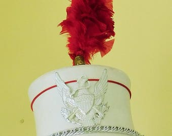 Vintage, Majorette, Marching Band, Drum Major, White Hat with Red Plume