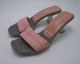 90's Prada Pink Toe Strap Heels