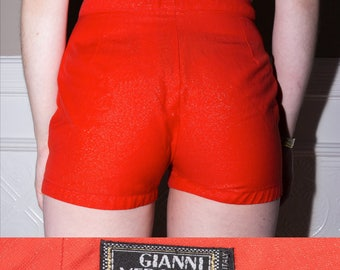 GIANNI VERSACE COUTURE Red Glitter Hot Shorts