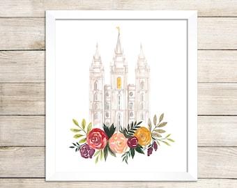 Salt Lake City, UT LDS Temple Watercolor Print, LDS Artwork
