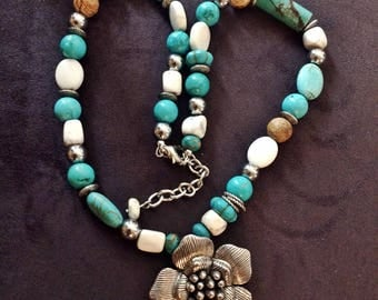 Bold Bulky statement turquoise Howlite necklace