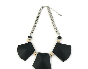 Black statement necklace, big silicone bedas, silver chain necklace, Nulika