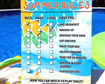 "Summer Rules - Personalized Chore Chart - Personalized Rules - Reusable - Photo Prop - Dry Erase Chart - Portable ""Summer Rules"" Check List"