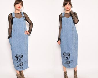 Vintage 90's Minnie Mouse Denim Overall Skirt - Size Large