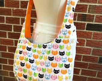 Cat bag crossbody bag slouch bag, hip length hobo bag,100% cotton shoulder bag inside pockets funny cat design print fabric large size