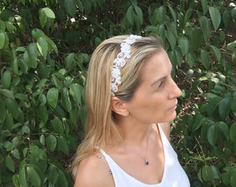 bridal tiara, ivory headband, wedding head piece, pearl and rhinestone halo, brides accessories, gift for her, hair flowers