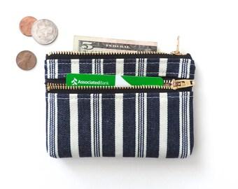 Wallet Coin Purse Double Zipper Pouch Vintage Stripe Blue