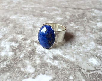 Raw Lapis Lazuli Oval Ring in Silver or Gold - Gemstone Jewelry - Healing Crystal Ring