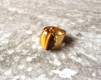 Raw Golden Tiger's Eye Oval Ring - Gemstone Jewelry - Black Panther (Wakanda) Inspired- Natural Stone Ring - Gifts for Her