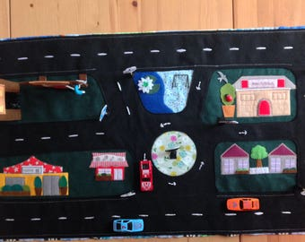 Toy car fold up playmat, car play rug, travel toy, car mat