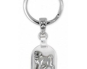 Pug Jewelry Sterling Silver Pug Key Ring Handmade Dog Jewelry PG44-KRE
