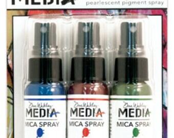 Dina Wakley Mica Spray LAPIS, RUBY, EVERGREEN Pearlescent Pigment Spray By Ranger 3 1oz bottles RMMK47988 1.cc06