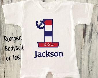 Baby boy or toddler boy mustache onesie with personalized baby boy nautical onesie first birthday nautical onesie baby boy nautical romper boy first birthday nautical negle Images