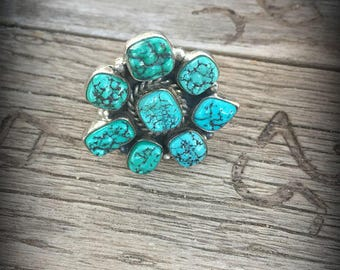 Fox Mine Turquoise Cluster Ring