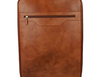 Leather trolley travel bag weekender overnight leather bag with wheels brown leather cabin luggage airplane carryon airplane bag made Italy