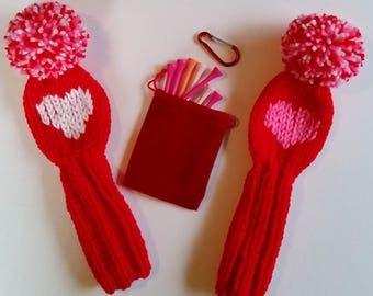 TWO Red Valentine Vintage Style Hand Knit Golf Club HEADCOVERS for Hybrids/Irons/Wedges and Red Velveteen Bag, Tees, Carbiner Clip Golf Gift
