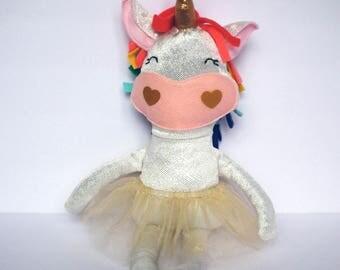 Unicorn. Unicorn doll. Rainbow unicorn doll. Fabric rag doll. Gift for girls. Samantha OBrien Designs