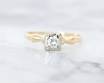 Simple Engagement Ring, Vintage Diamond Ring Solitaire 1/5 CTW, Dainty 1940s Art Deco Promise Ring, Two Tone 14k Gold Fine Jewelry, Size 7