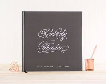 Wedding Guest Book wedding album gray wedding guestbook 12x12 personalized hardcover guestbook planner lined black pages photo guest book