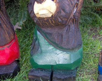 Chainsaw Carved Bear in Overalls Green