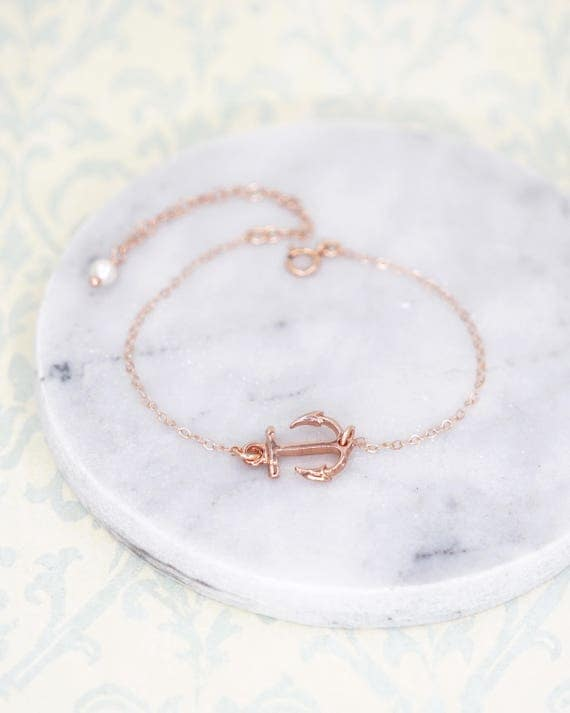 Lucky Rose Gold Anchor bracelet - rose gold filled bracelet with Anchor, Simple bridesmaid bracelet, best friends, sisters, mum, navy