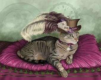 Scene Stealer - Fantasy steampunk cat inspired digital art print on various materials and available in various sizes