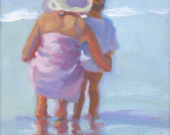Mama and me 9,   Original 8 x 10 acrylic painting on stretched canvas,  mother and son on the beach, impressionism,  Lucelle Raad Art