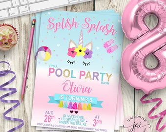 PRINTABLE Unicorn Pool Party Invitation, Unicorn Party Invitation, Rainbow Birthday Invitation, Unicorn Birthday, Pool Party Unicorn Invite
