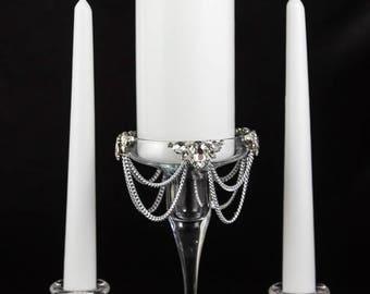 Wedding Candles Holder, Unity Candle Set, Crystal Wedding Candles, Bling Wedding Centerpiece, Glass Candle Holder, Unity Candle Holder