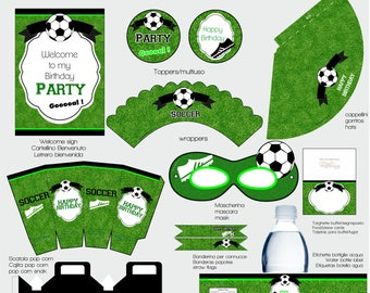 INSTANT DOWNLOAD football soccer Printable birthday Party