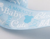 """Wired Ribbon, 2.5"""" X 10yd Baby Boy Ribbon, Wired Blue Baby Shower Ribbon, Deco Mesh Supply, Wreath Supply, Bow Supply, 1590, P1a"""