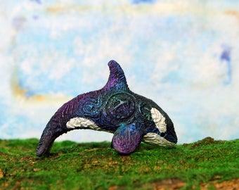 Orca Killer Whale Figurine Fantasy Dolphin Sculpture Sea Animal Figure Velvet Clay Totem TotembyKarhu