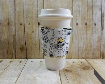Fabric Coffee Cozy / Charlie Brown Christmas Coffee Cozy / Peanuts Character Coffee Cozy / Coffee Cozy / Tea Cozy