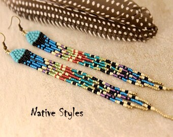 "6.5""Feather Inspired Seed Bead Earrings~Long Turquoise Earrings~Beaded Feather Native American Style~Long Unique Fringe Shoulder Dusters"