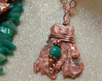 Native Copper Teal Amazonite Pendant One Of A Kind Float Copper Pure Michigan U.P. Keweenaw Tribal Talisman First Peoples Metal Love Nature