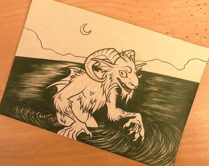 Cryptid Inktober 2017 Illustration - Lake Worth Monster