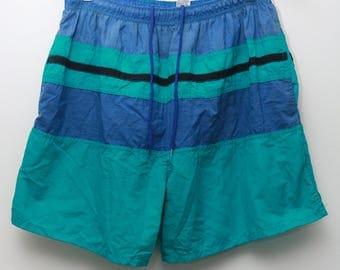 "90's Vintage ""SURF ODYSSEY"" ColorBlocked Swim Shorts/Trunks  Sz: LARGE (Men's Exclusive)"