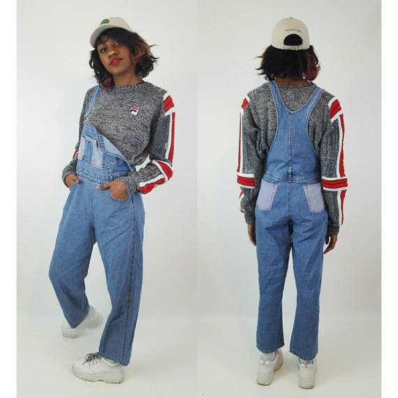 90's Vintage Two Toned Overalls - Large Vtg Blue Jean Overall Pants with Plaid Color Blocking - Baggy Distressed Denim Fall Womens Overalls