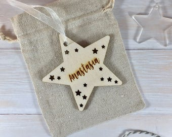 Personalised Wooden Star Christmas Tree Decoration