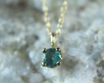 ALEXANDRITE - Genuine & Natural Alexandrite Color-change 14K Yellow Gold Petite Charm Necklace 0.37 carats! FREE Shipping!
