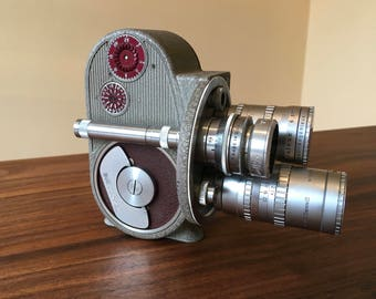 1955 Bell & Howell 134TA 8mm Triple Turret Movie Camera, 3 Lenses