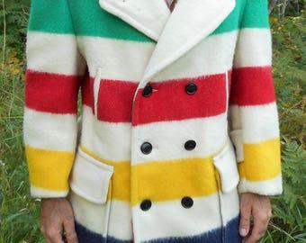 Vintage Hudson Bay Wool Blanket Coat Peacoat doublebreasted belted