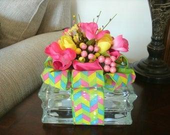 Easter Table Arrangement - Home Decor - Spring Centerpiece - Easter Centerpiece - Lighted Glass Block Decorations, Spring Decor, Nightlight,