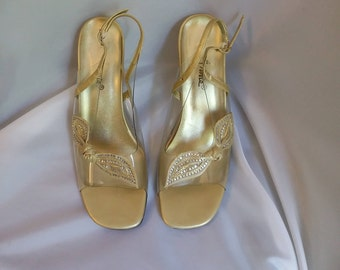 vintage formal shoes gold/lucite slingbacks rhinestone peep toes Annies 8w