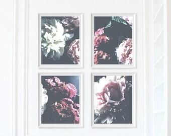 Set of 4 Floral Prints - Digital Download Printable - Peony Print - Peonies Print - Flowers Art Print - Botanical Wall Art - Flower Print