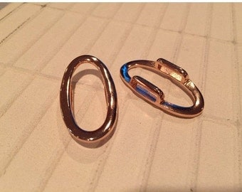 10mm Flat Leather Cord Slider, Rose Gold Oval Ring,  Finding,