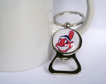Stainless Steel Cleveland Indians Bottle Cap Opener Key Chain
