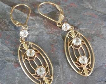 14K Deco / Nouveau Paste Drop Earrings