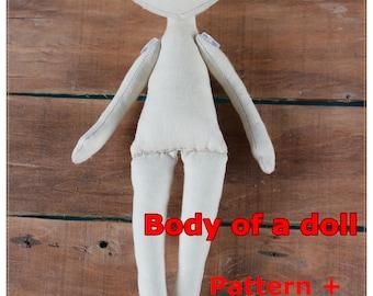 PDF,Tutorial Textile Doll 25сm (9,8 in) ,doll body,Cloth Doll Pattern,PDF Sewing Tutorial,Soft Doll Pattern